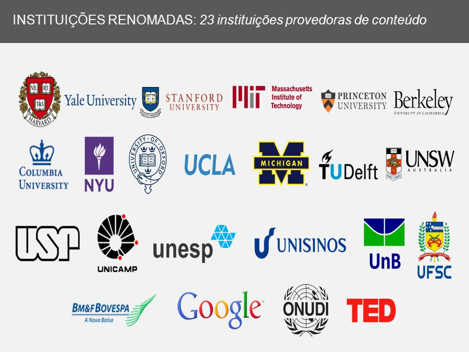 INSTITUIÇÕES RENOMADAS: 23 instituições provedoras de conteúdo