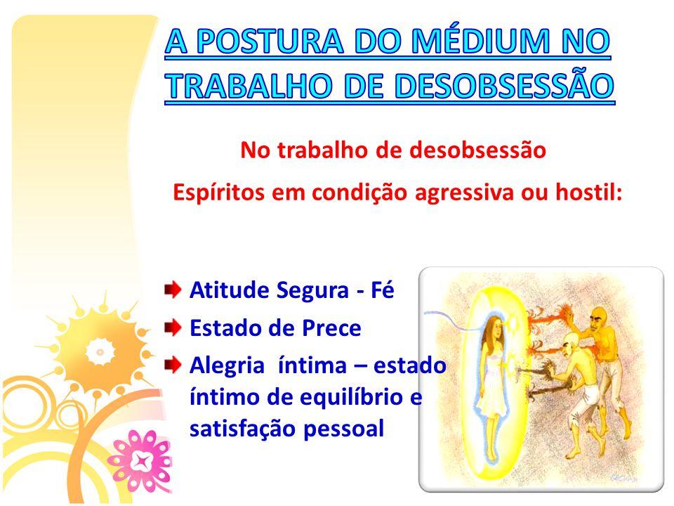 A POSTURA DO MÉDIUM NO TRABALHO DE DESOBSESSÃO