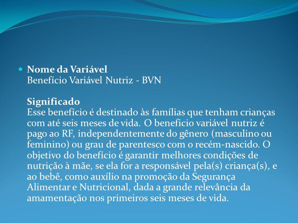 Nome da Variável Benefício Variável Nutriz - BVN Significado Esse benefício é destinado às famílias que tenham crianças com até seis meses de vida.