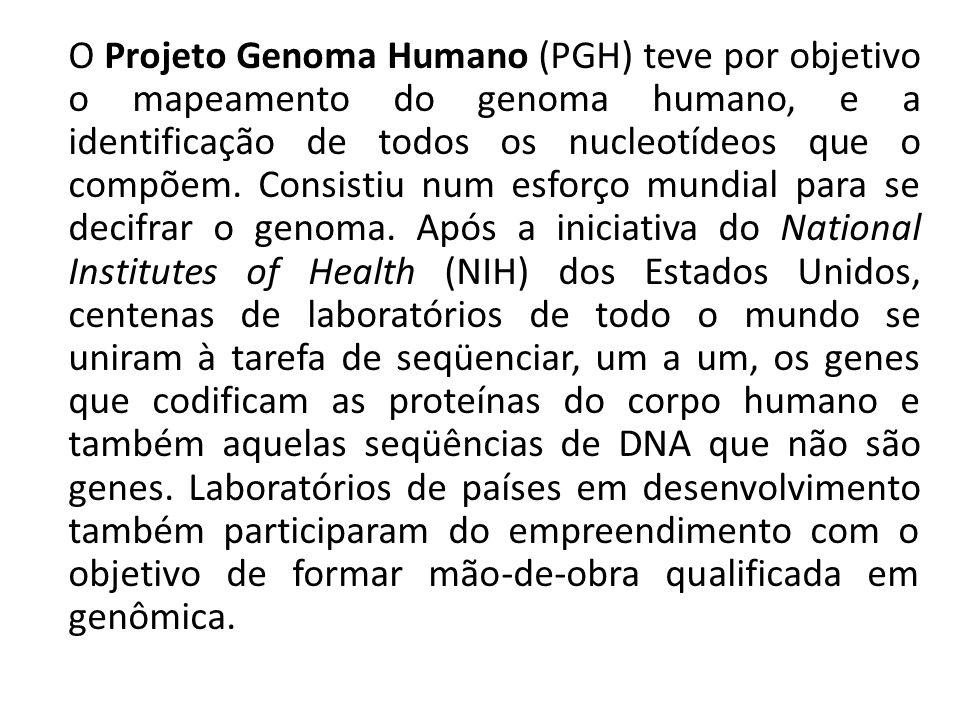 O Projeto Genoma Humano (PGH) teve por objetivo o mapeamento do genoma humano, e a identificação de todos os nucleotídeos que o compõem.