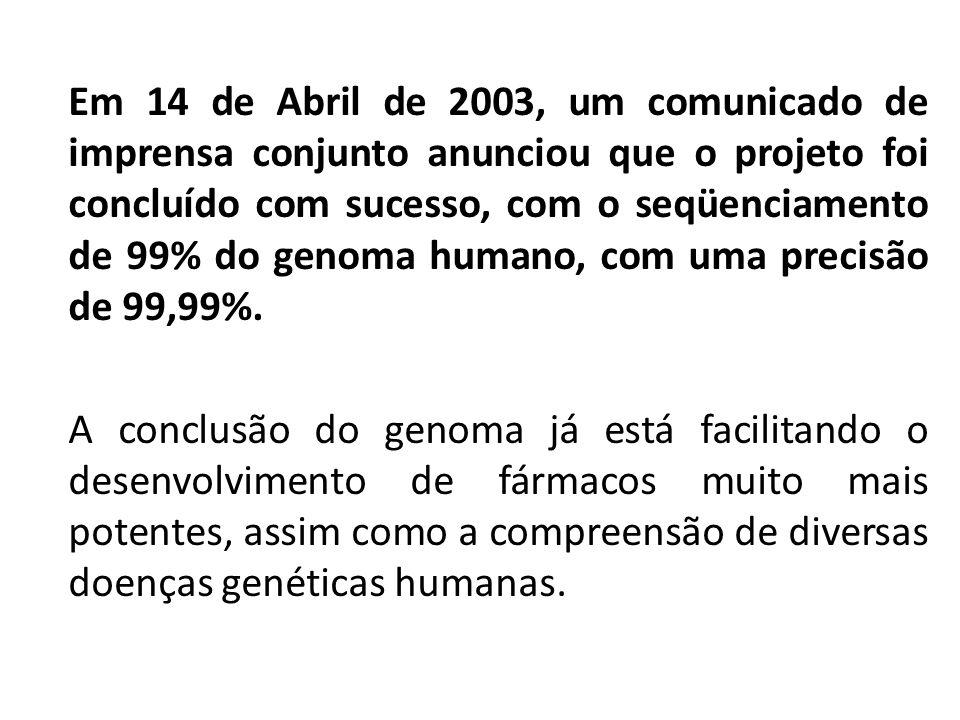 Em 14 de Abril de 2003, um comunicado de imprensa conjunto anunciou que o projeto foi concluído com sucesso, com o seqüenciamento de 99% do genoma humano, com uma precisão de 99,99%.