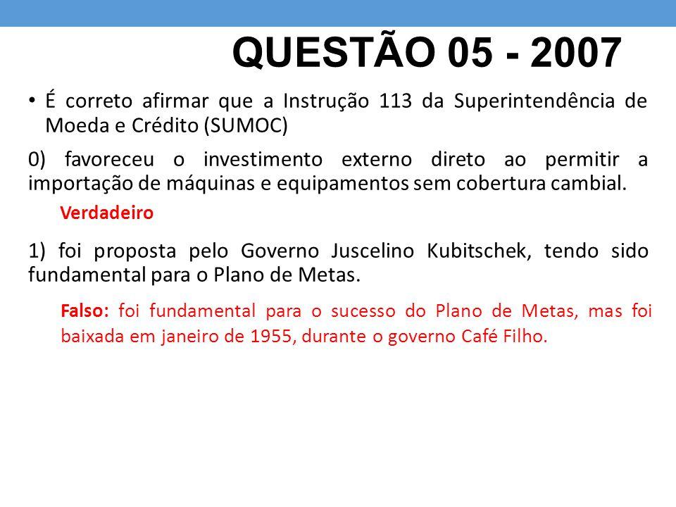 QUESTÃO 05 - 2007 É correto afirmar que a Instrução 113 da Superintendência de Moeda e Crédito (SUMOC)