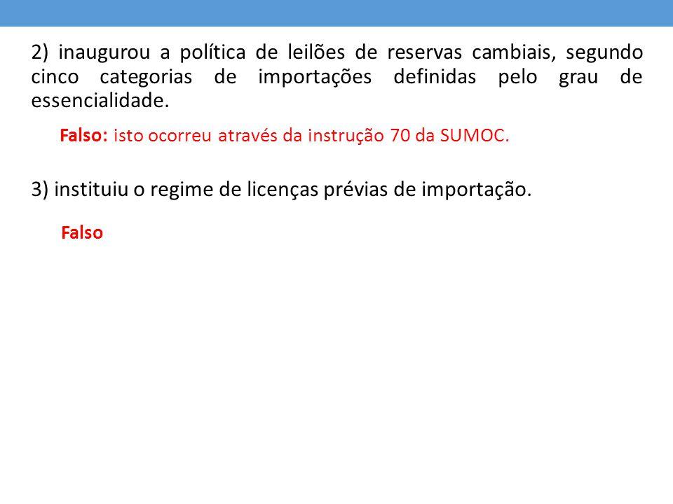 3) instituiu o regime de licenças prévias de importação.