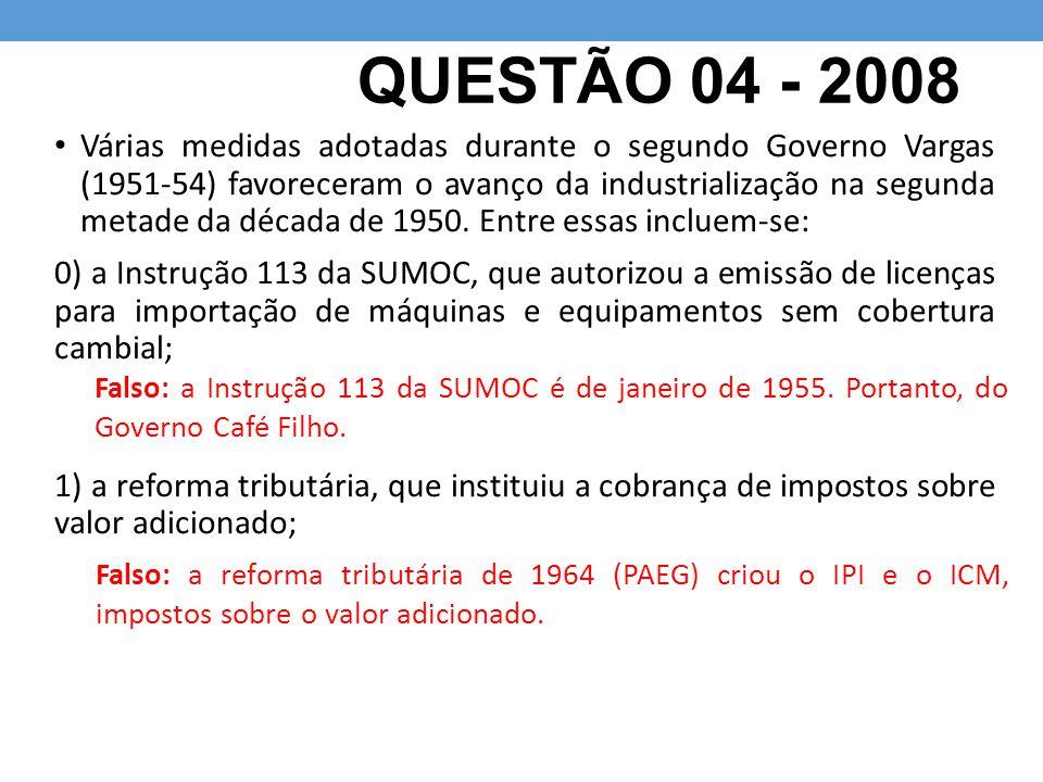 QUESTÃO 04 - 2008
