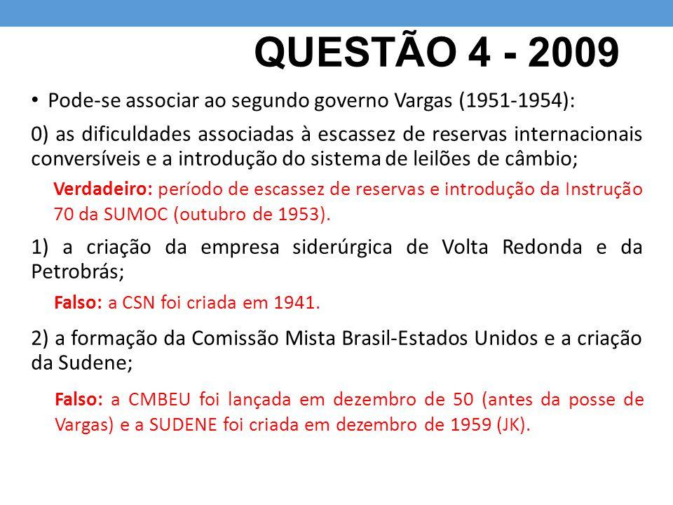 QUESTÃO 4 - 2009 Pode-se associar ao segundo governo Vargas (1951-1954):