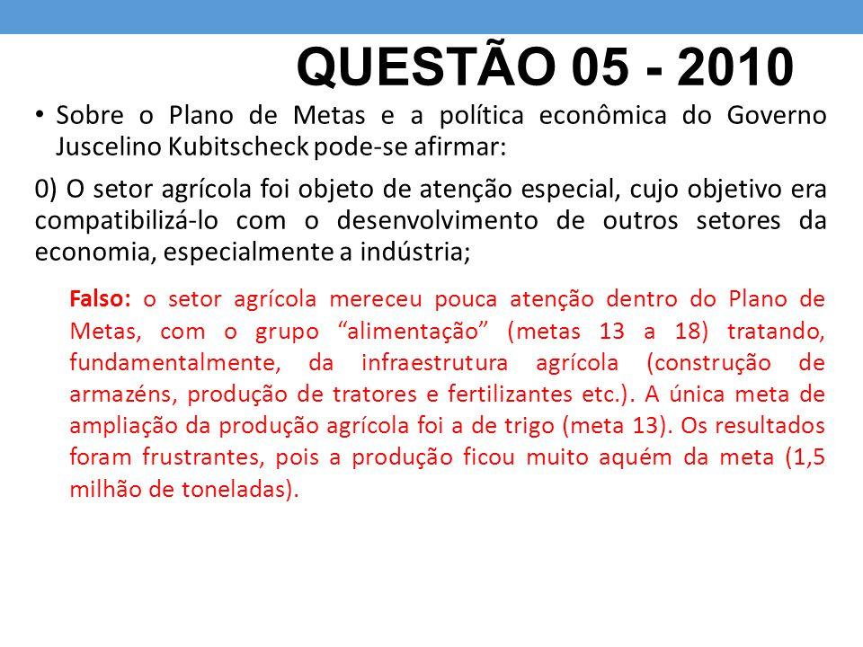 QUESTÃO 05 - 2010 Sobre o Plano de Metas e a política econômica do Governo Juscelino Kubitscheck pode-se afirmar: