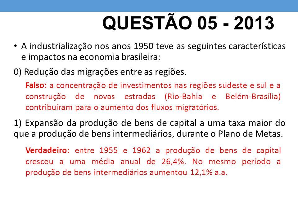 QUESTÃO 05 - 2013 A industrialização nos anos 1950 teve as seguintes características e impactos na economia brasileira: