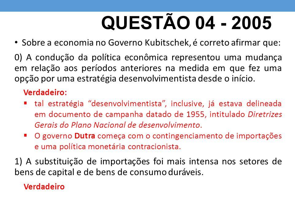 QUESTÃO 04 - 2005 Sobre a economia no Governo Kubitschek, é correto afirmar que:
