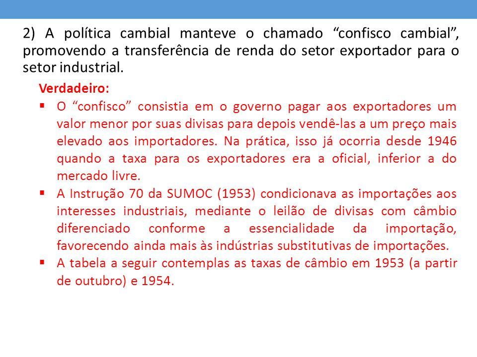 2) A política cambial manteve o chamado confisco cambial , promovendo a transferência de renda do setor exportador para o setor industrial.