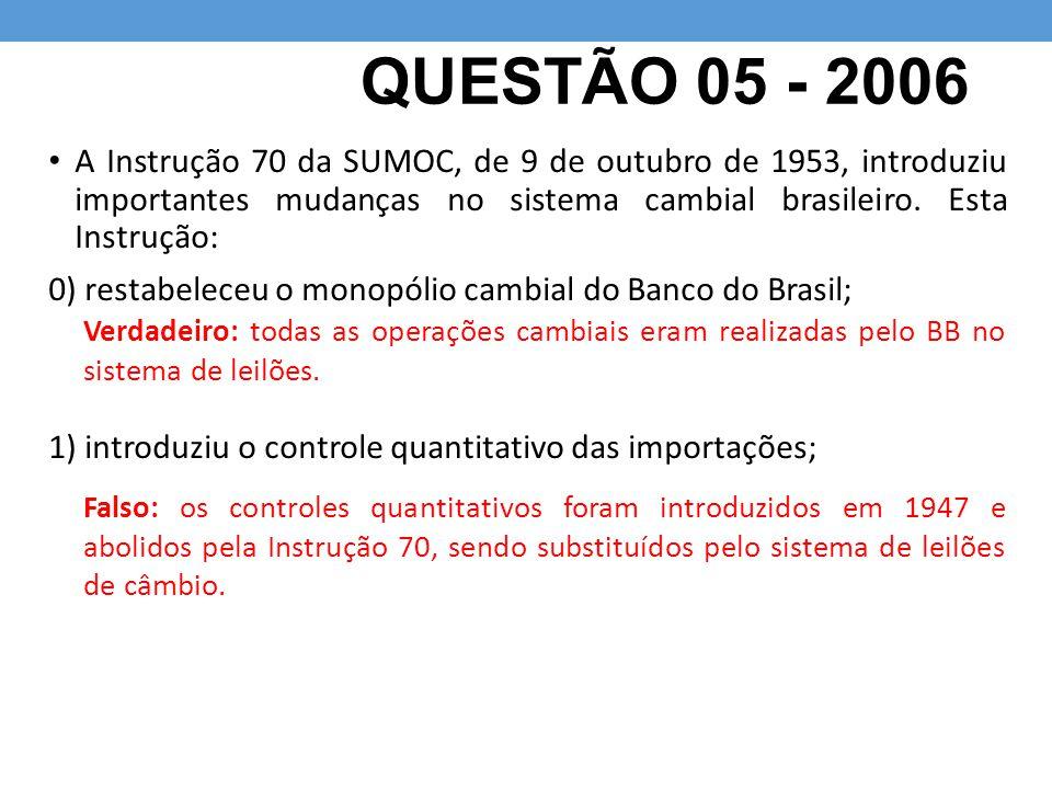 QUESTÃO 05 - 2006 A Instrução 70 da SUMOC, de 9 de outubro de 1953, introduziu importantes mudanças no sistema cambial brasileiro. Esta Instrução: