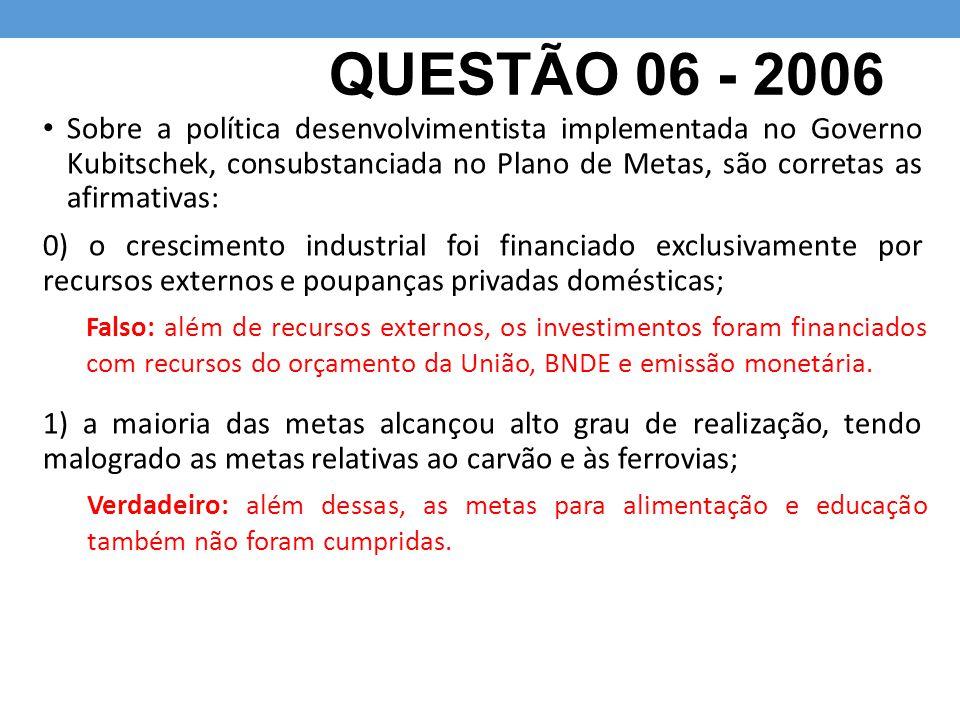 QUESTÃO 06 - 2006