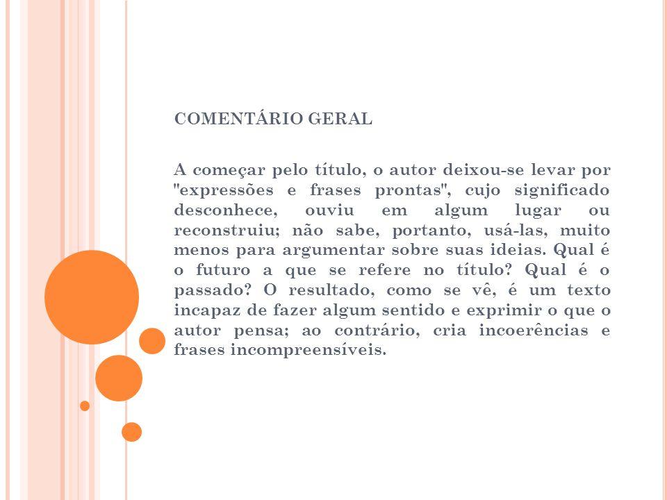 COMENTÁRIO GERAL