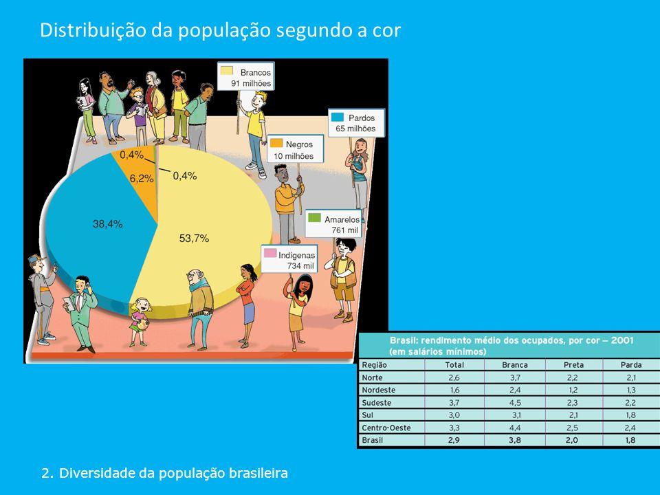 Distribuição da população segundo a cor