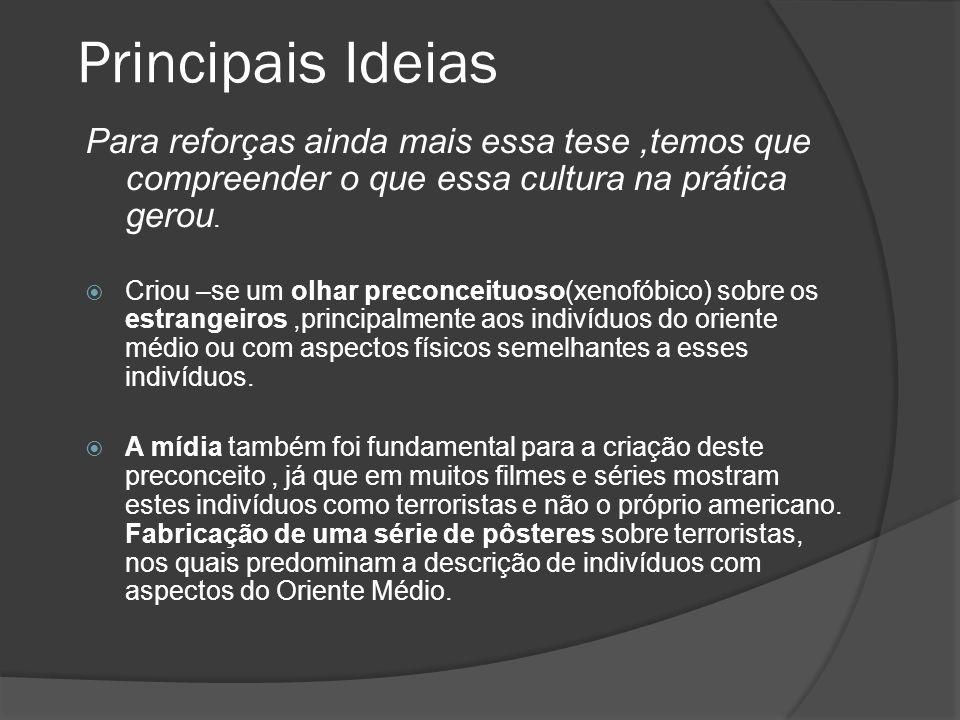 Principais Ideias Para reforças ainda mais essa tese ,temos que compreender o que essa cultura na prática gerou.