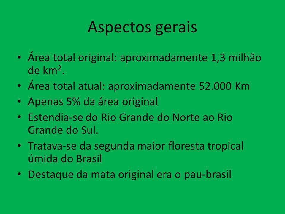 Aspectos gerais Área total original: aproximadamente 1,3 milhão de km2. Área total atual: aproximadamente 52.000 Km.