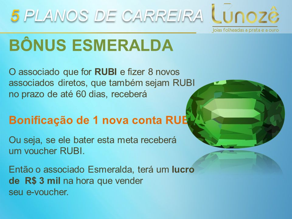 5 PLANOS DE CARREIRA BÔNUS ESMERALDA Bonificação de 1 nova conta RUBI.