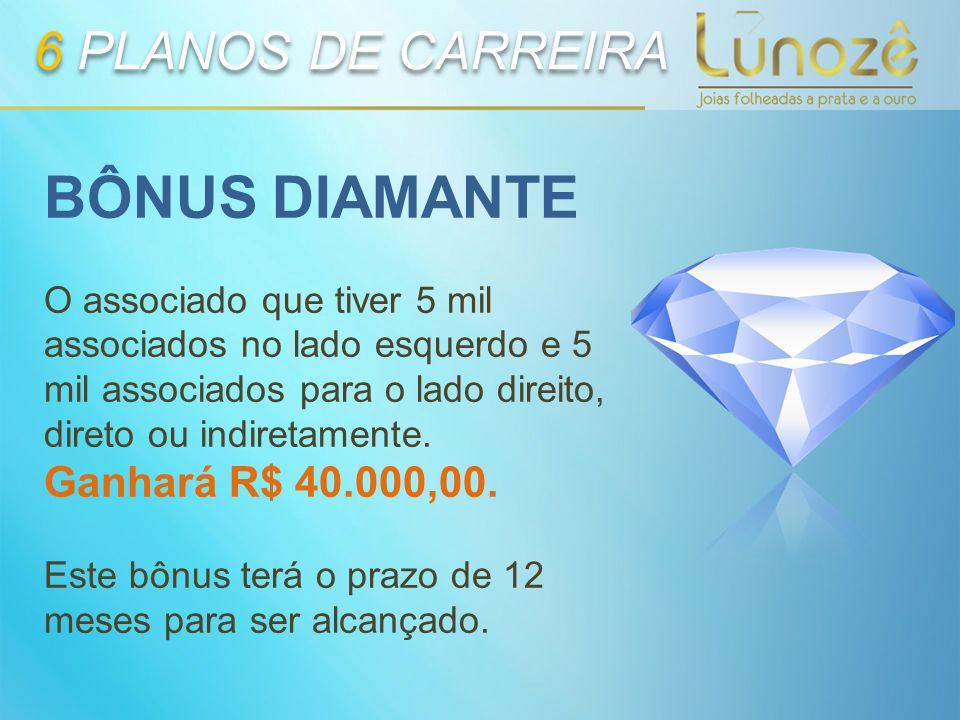 BÔNUS DIAMANTE 6 PLANOS DE CARREIRA Ganhará R$ 40.000,00.