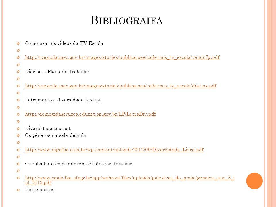 Bibliograifa Como usar os videos da TV Escola