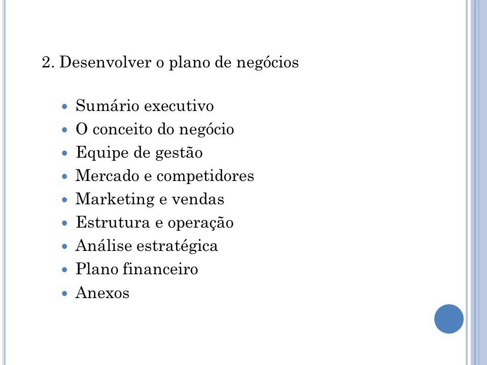 2. Desenvolver o plano de negócios Sumário executivo