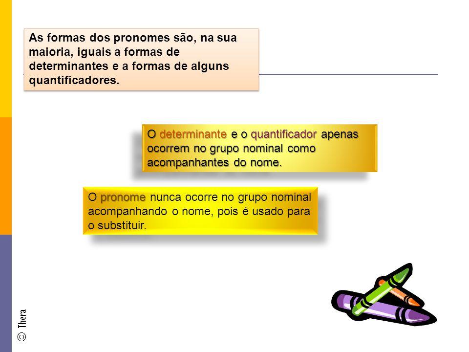 As formas dos pronomes são, na sua maioria, iguais a formas de determinantes e a formas de alguns quantificadores.
