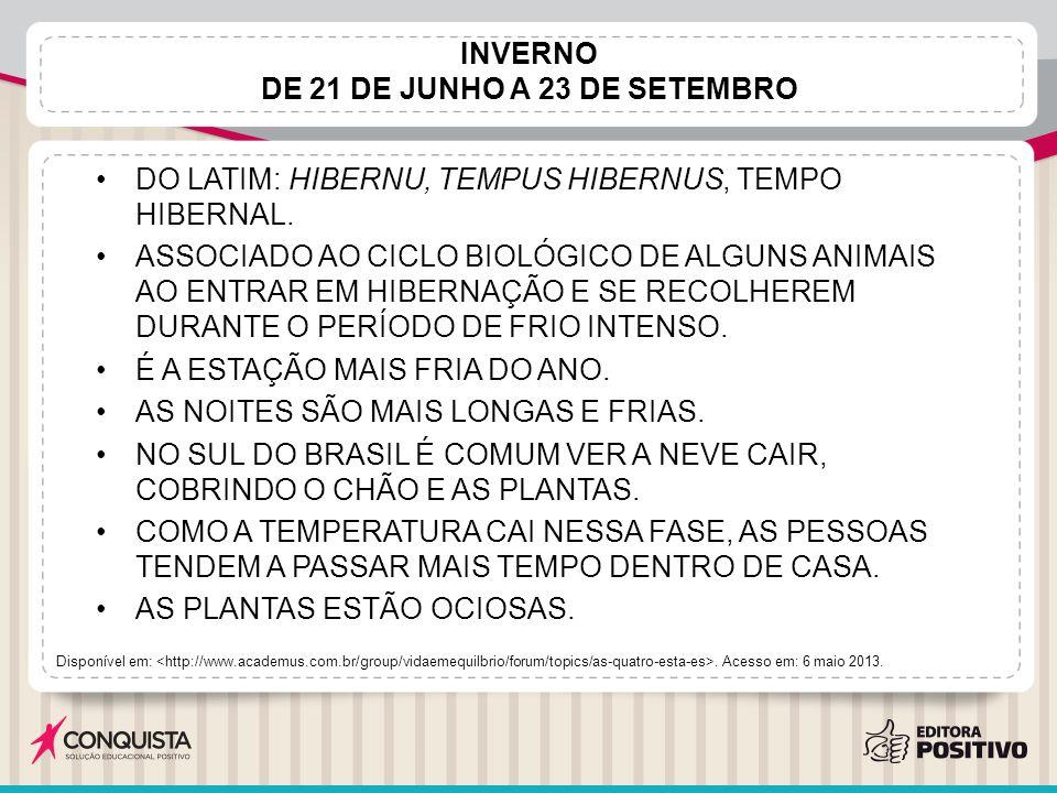 INVERNO DE 21 DE JUNHO A 23 DE SETEMBRO