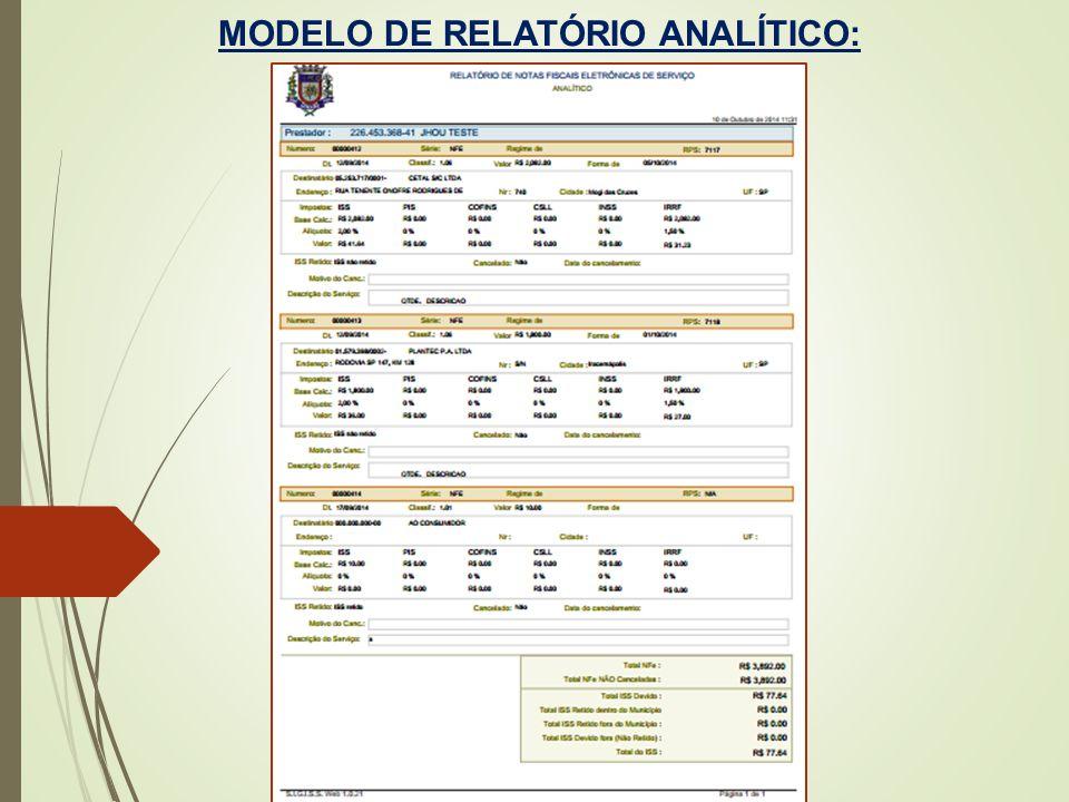 MODELO DE RELATÓRIO ANALÍTICO: