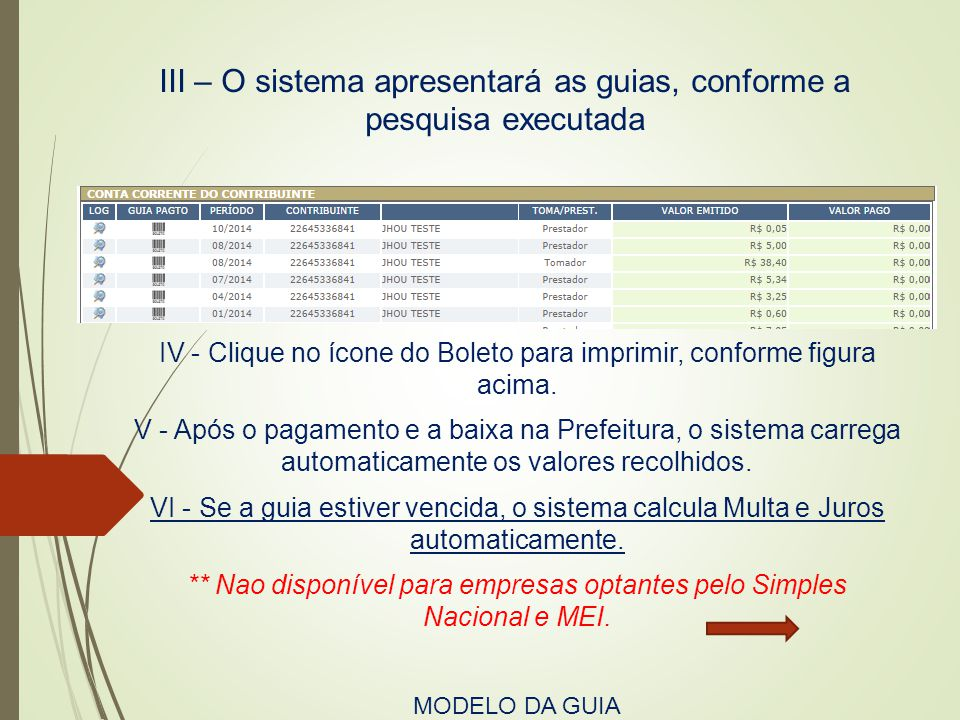 III – O sistema apresentará as guias, conforme a pesquisa executada