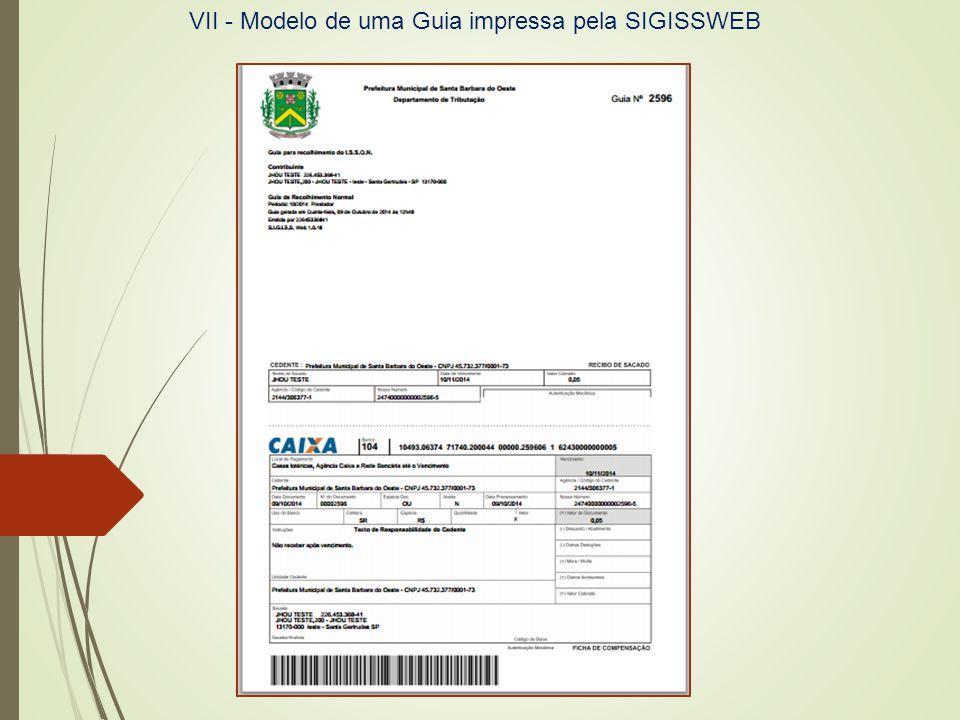 c) Modelo de Guia de ISSQN impressa: VII - Modelo de uma Guia impressa pela SIGISSWEB