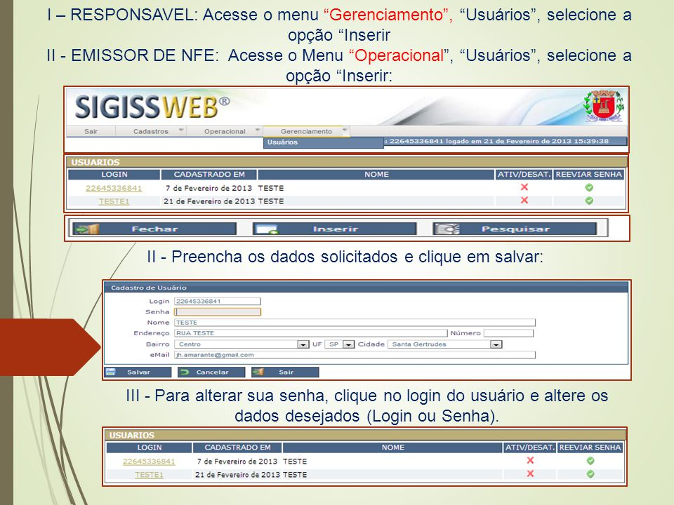 II - Preencha os dados solicitados e clique em salvar: