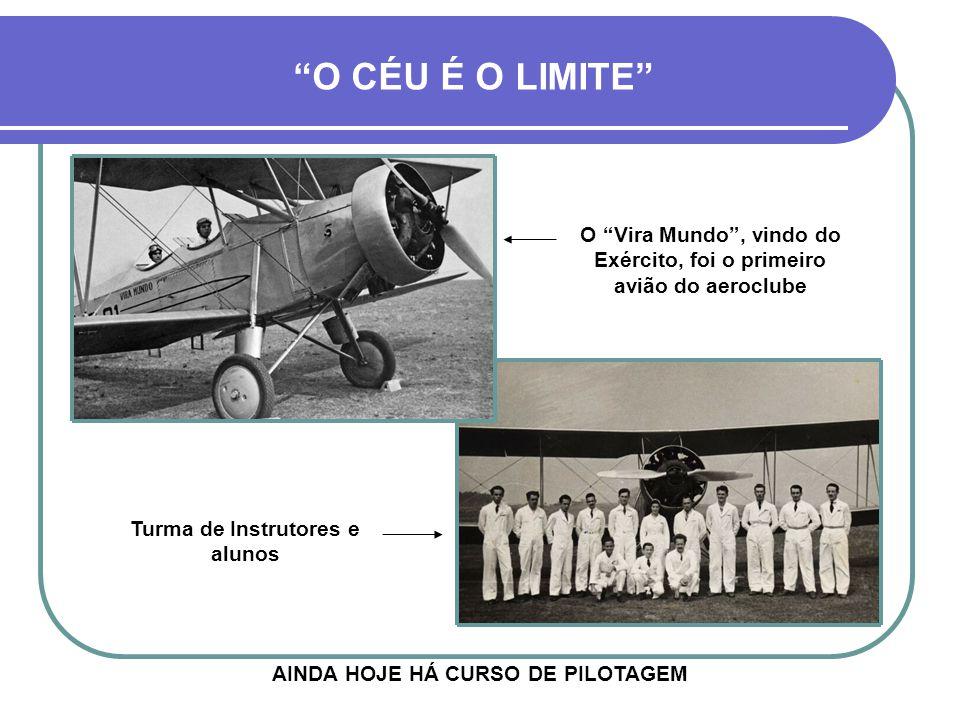 O CÉU É O LIMITE O Vira Mundo , vindo do Exército, foi o primeiro avião do aeroclube. Turma de Instrutores e alunos.