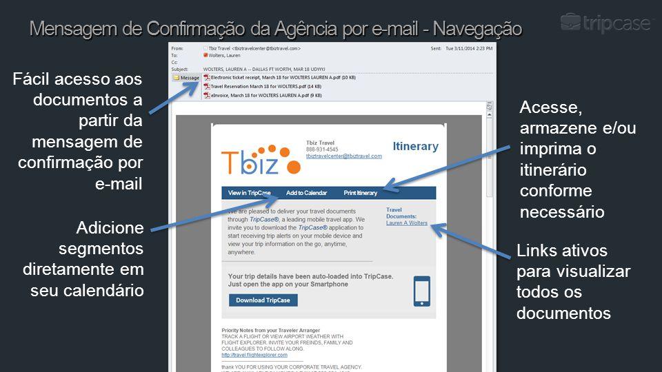 Mensagem de Confirmação da Agência por e-mail - Navegação