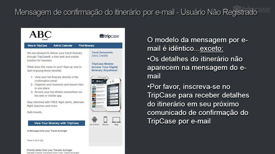 Mensagem de confirmação do itinerário por e-mail - Usuário Não Registrado