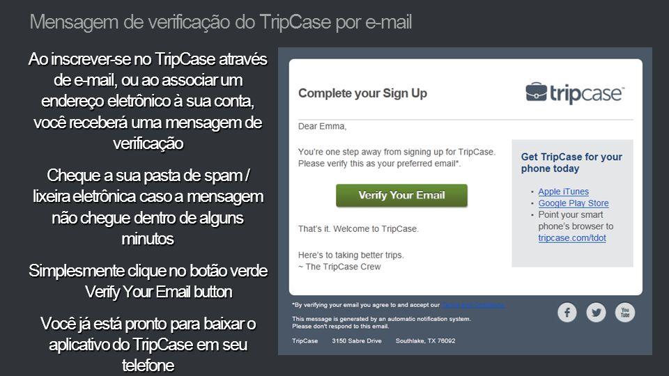 Mensagem de verificação do TripCase por e-mail