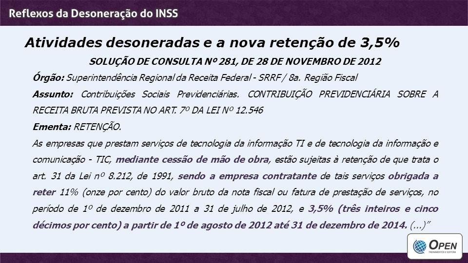 SOLUÇÃO DE CONSULTA Nº 281, DE 28 DE NOVEMBRO DE 2012