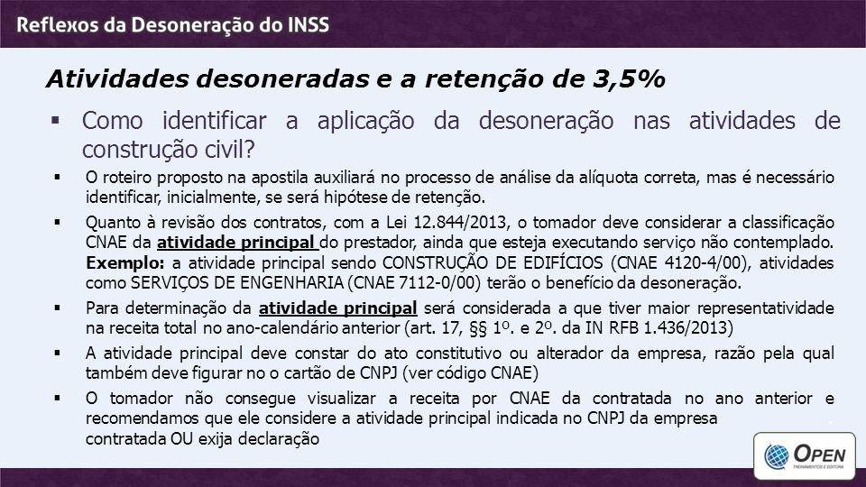 Atividades desoneradas e a retenção de 3,5%