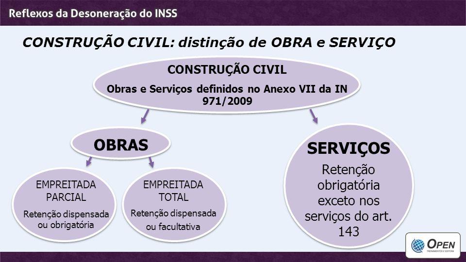 Obras e Serviços definidos no Anexo VII da IN 971/2009