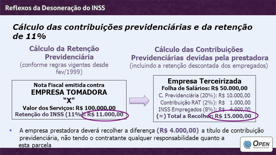 Cálculo das contribuições previdenciárias e da retenção de 11%