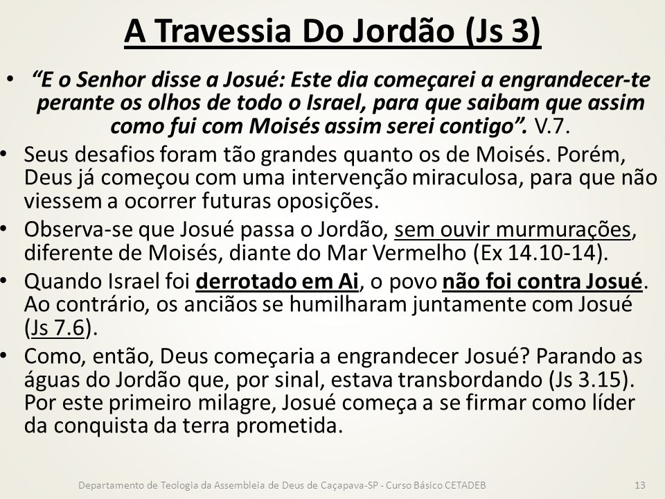 A Travessia Do Jordão (Js 3)