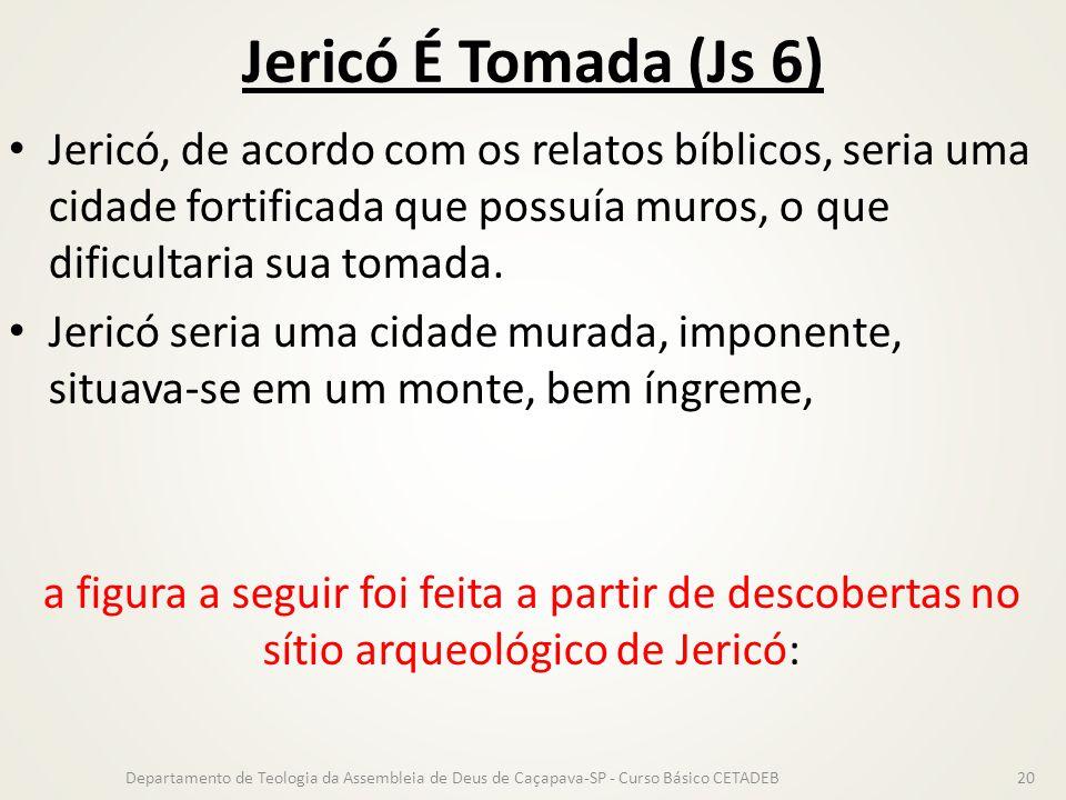 Jericó É Tomada (Js 6) Jericó, de acordo com os relatos bíblicos, seria uma cidade fortificada que possuía muros, o que dificultaria sua tomada.