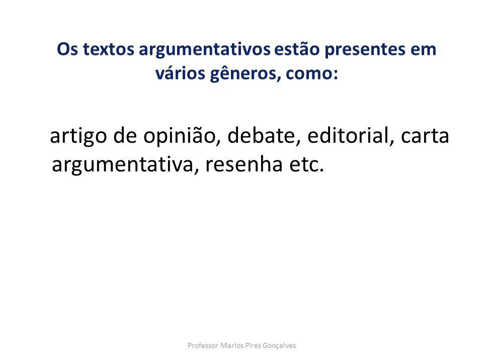 Os textos argumentativos estão presentes em vários gêneros, como: