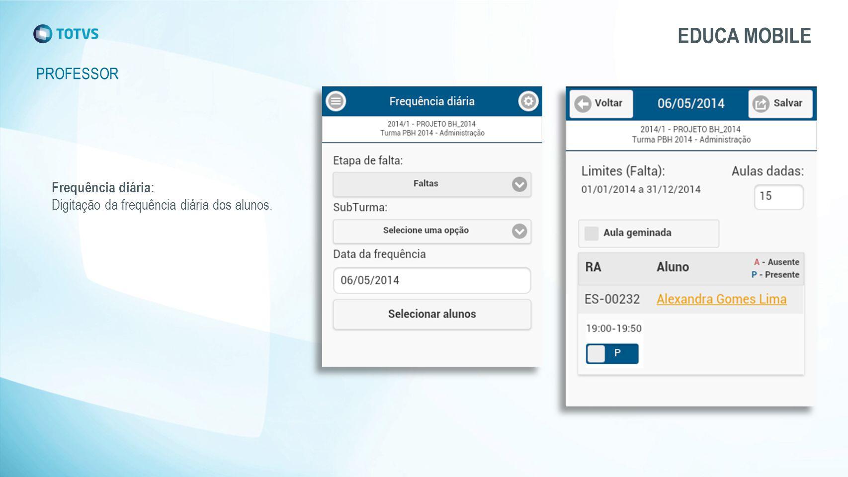 EDUCA MOBILE PROFESSOR Frequência diária: