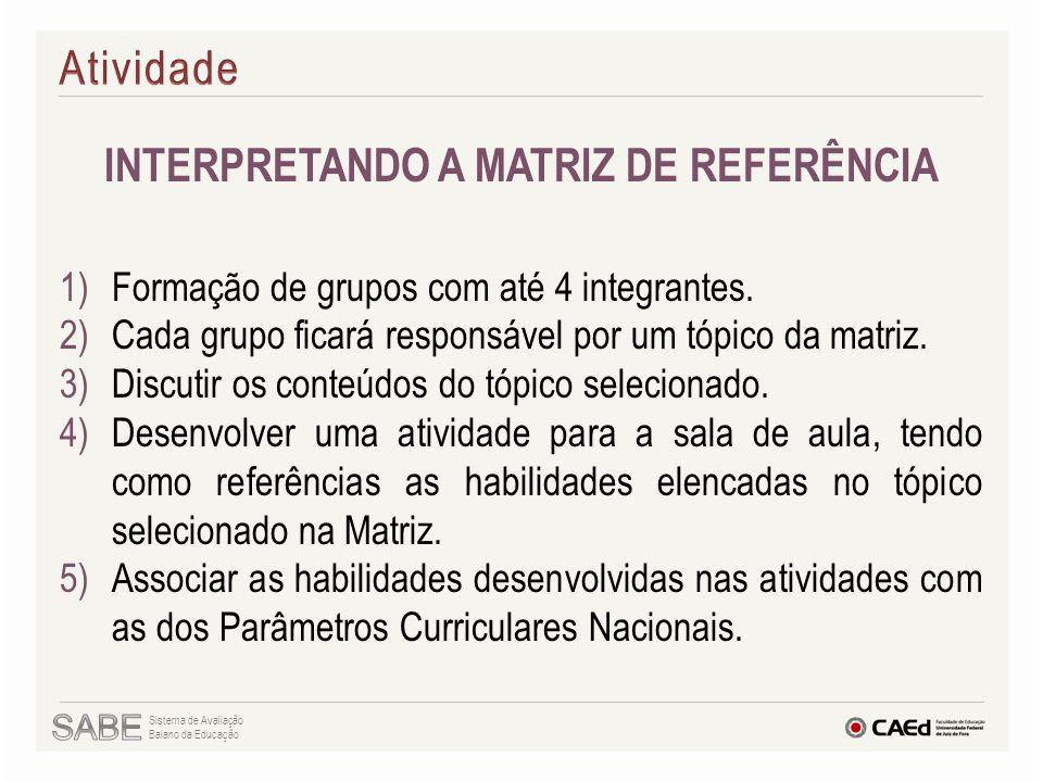 INTERPRETANDO A MATRIZ DE REFERÊNCIA