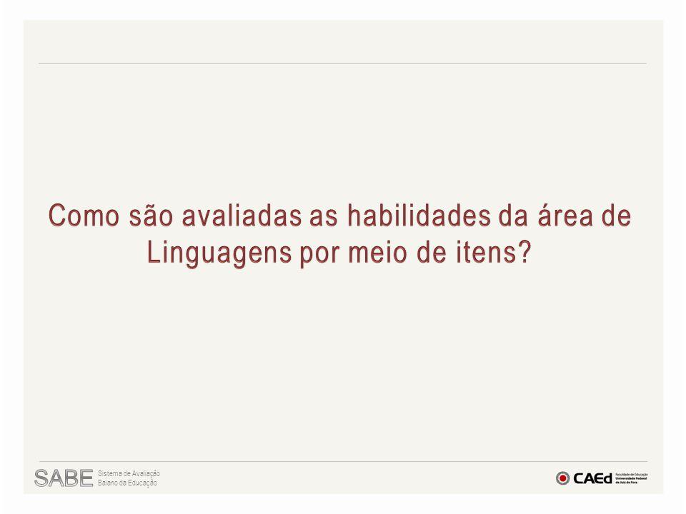 Como são avaliadas as habilidades da área de Linguagens por meio de itens