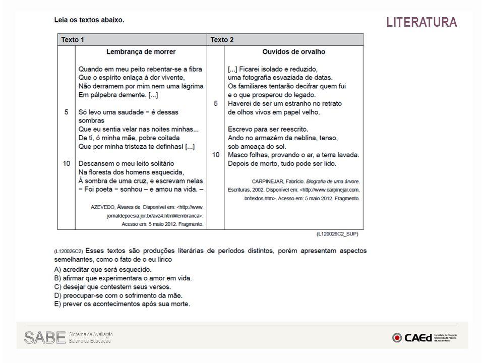LITERATURA SABE Sistema de Avaliação Baiano da Educação