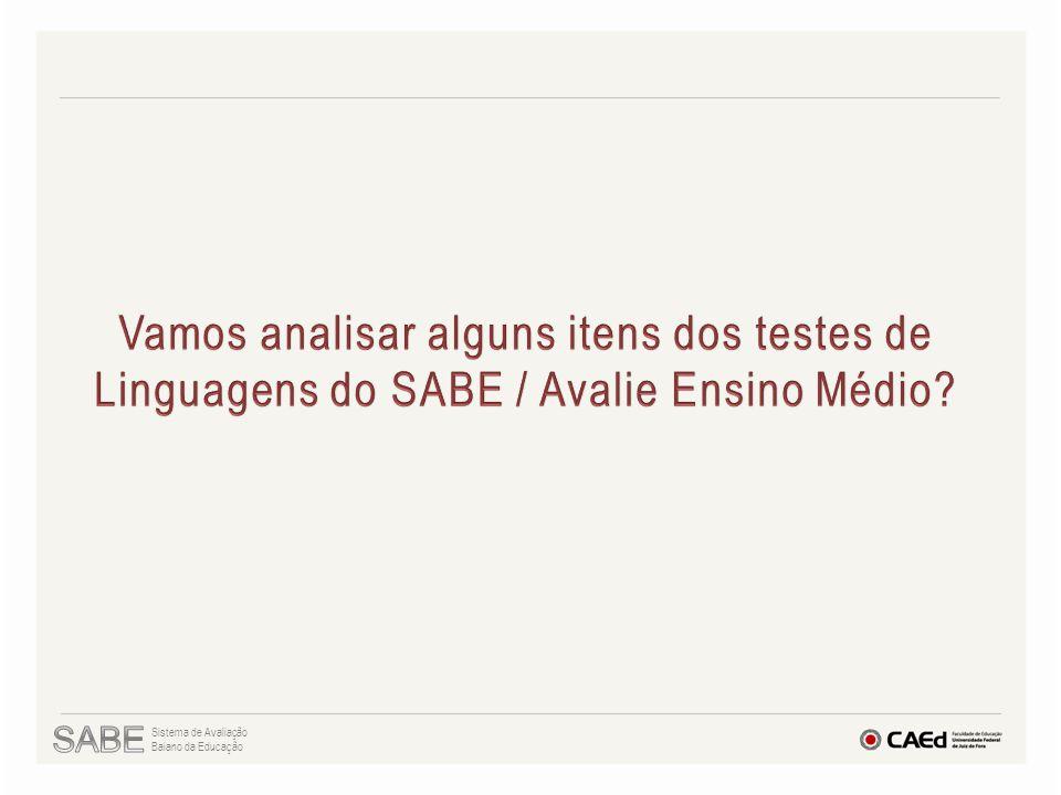 Vamos analisar alguns itens dos testes de Linguagens do SABE / Avalie Ensino Médio
