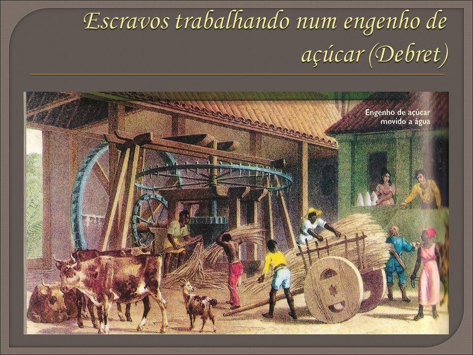 Escravos trabalhando num engenho de açúcar (Debret)