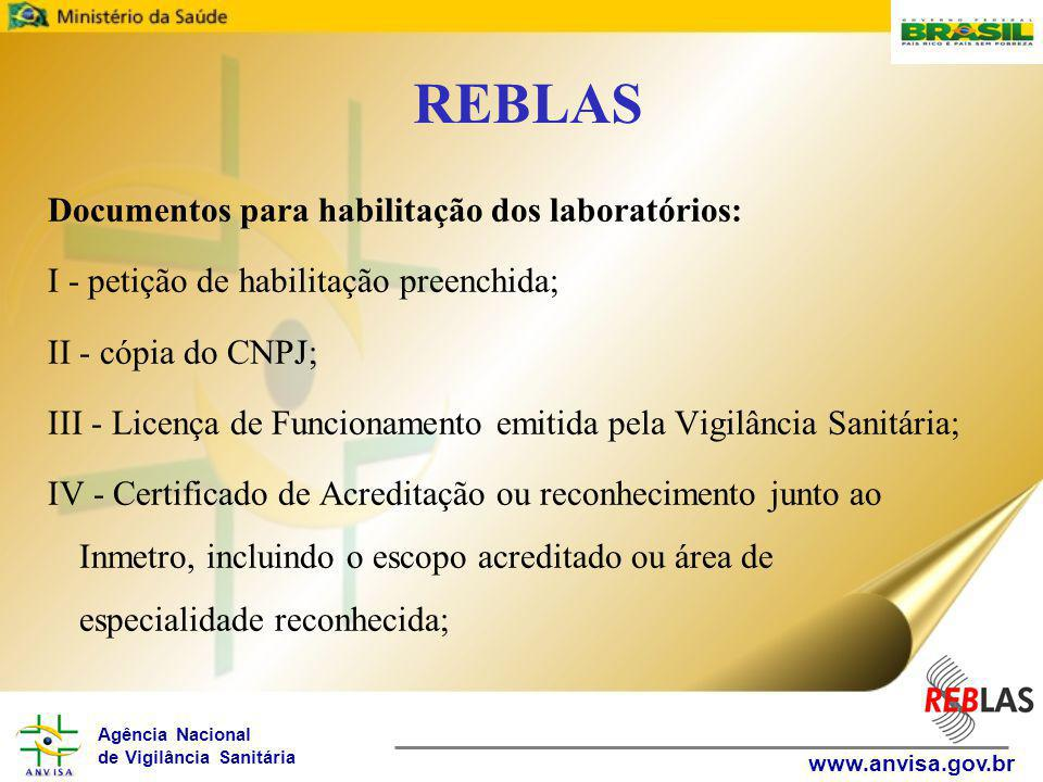REBLAS Documentos para habilitação dos laboratórios: