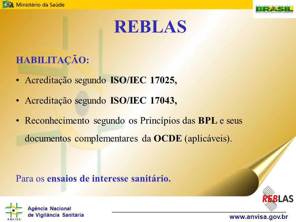 REBLAS HABILITAÇÃO: Acreditação segundo ISO/IEC 17025,