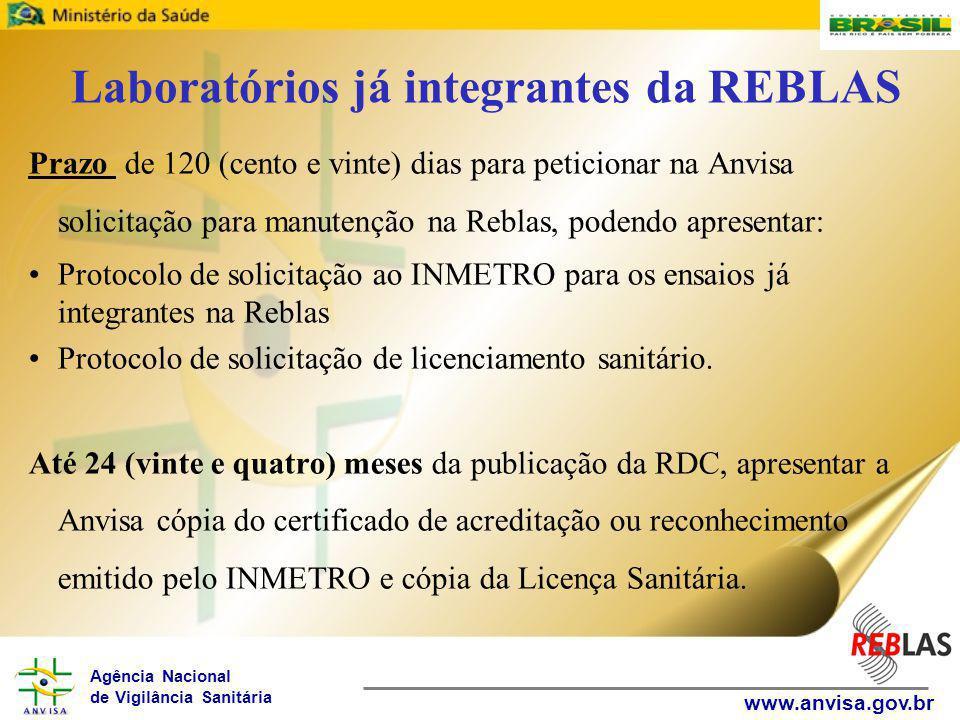 Laboratórios já integrantes da REBLAS