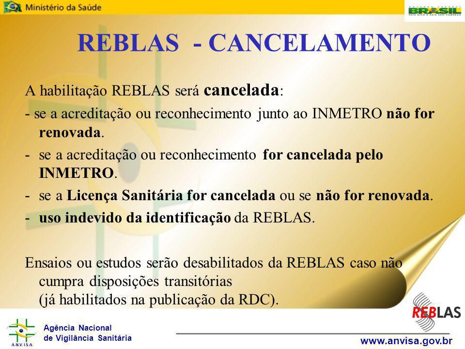 REBLAS - CANCELAMENTO A habilitação REBLAS será cancelada: